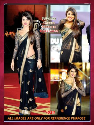 Priyanka in Black nylon net sequence work round designs bollywood saree with unstitched sequence work blouse