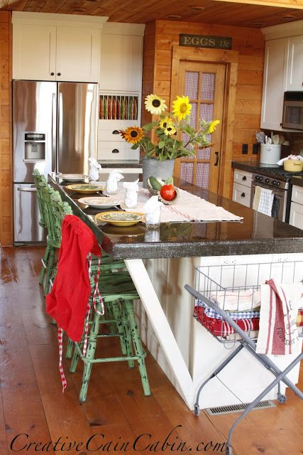 Summer kitchen in a rustic log home creative for Log cabin kitchen countertops