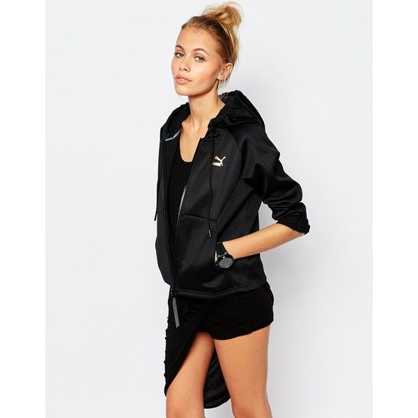Puma Gold Collection Zip Front Hoodie In Heavy Mesh ($55) ❤ liked on Polyvore featuring tops, hoodies, black, zip front hoodies, puma hoodie, hooded pullover, gold hoodies and lined hoodies