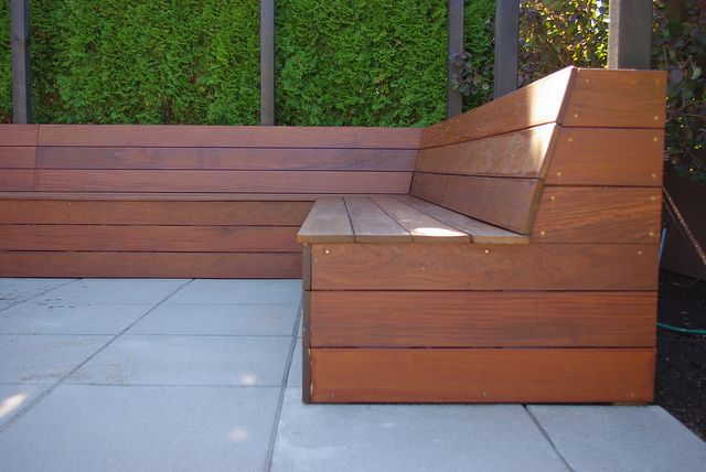 built in seating | Flickr - Photo Sharing! Like how the back is slanted, makes it more comfortable.