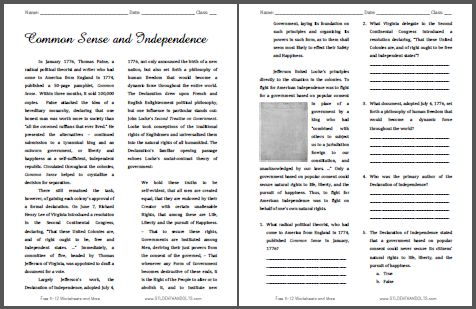 common sense and independence free printable american history reading with questions for. Black Bedroom Furniture Sets. Home Design Ideas