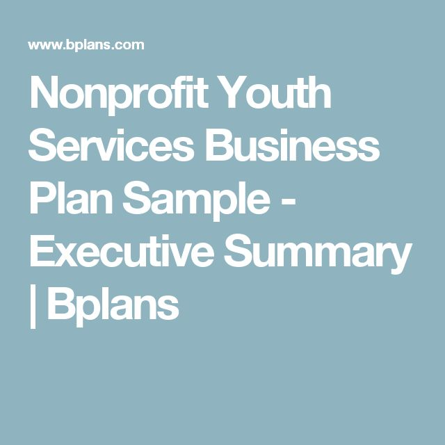 Nonprofit Youth Services Business Plan Sample