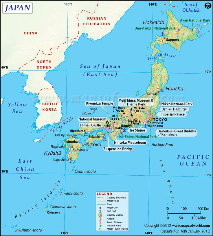 Map of Japan. Key Features and sites.