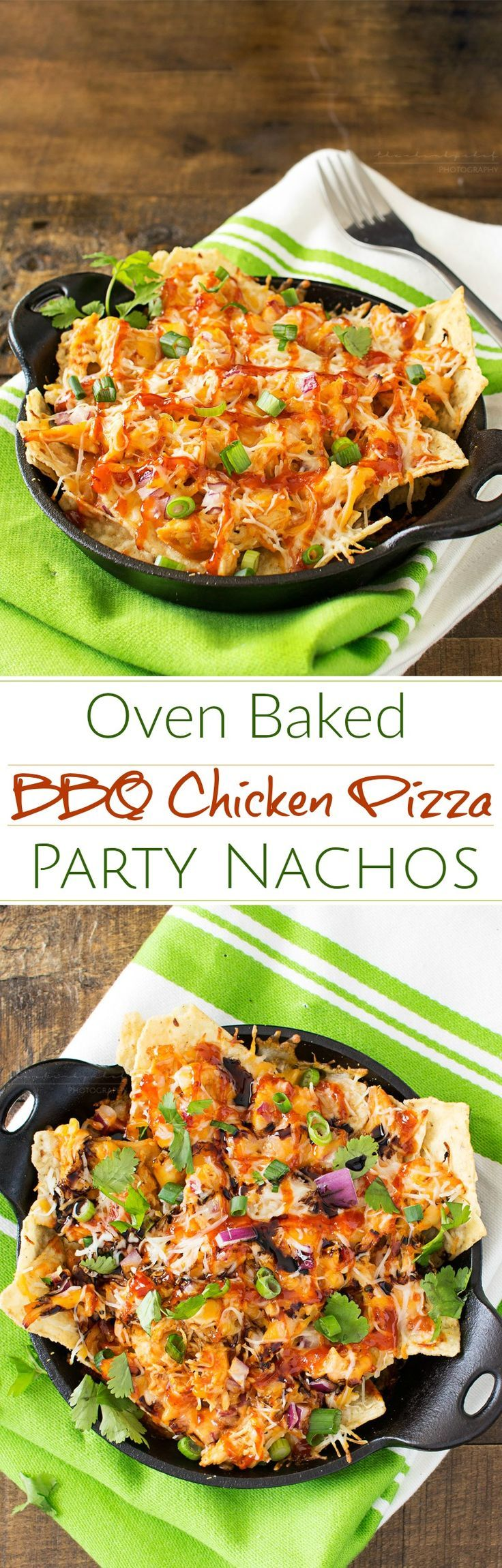 Oven Baked BBQ Chicken Pizza Nachos | Oven baked BBQ chicken pizza nachos... the awesome combination of homemade bbq sauce, juicy chicken, gooey cheese and tons of toppings! | http://thechunkychef.com