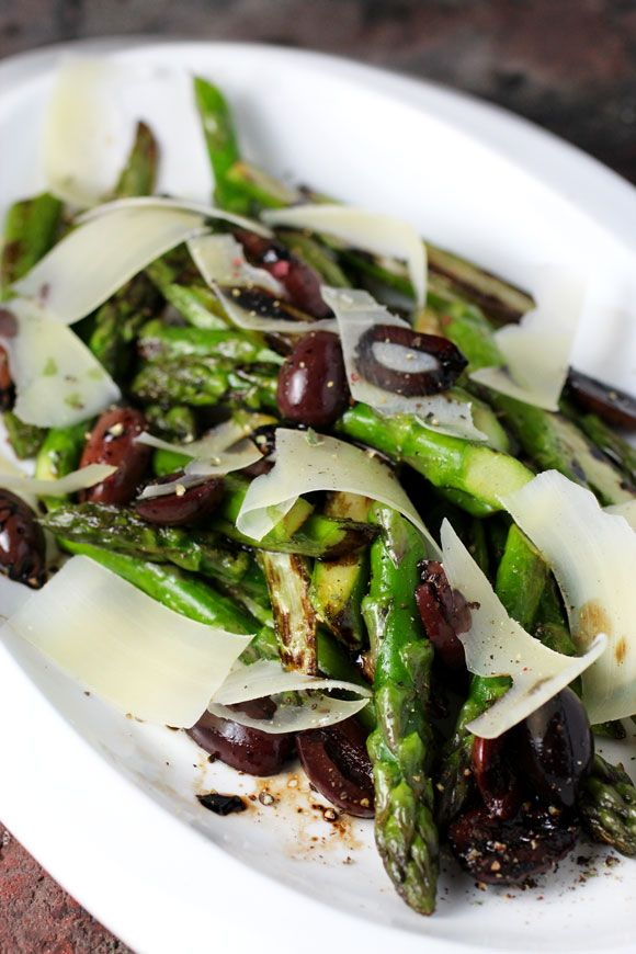 Roasted Asparagus, Olives, Parmesan Inspired by Alain Ducasse #LowCarb