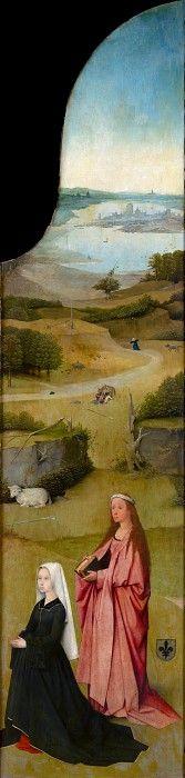 Поклонение волхвов, правая створка - Святая Агнесса с донатором. Иероним Босх