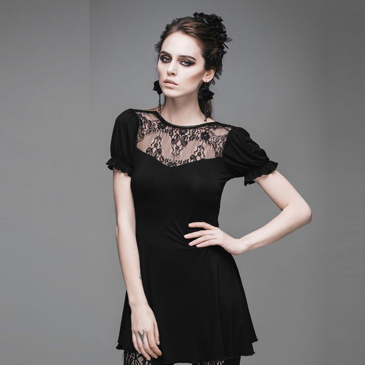 Devil Fashion Slim Fit Stretch Cotton T Shirts for Women Casual Lack Up Ladies Long Black Gothic Tops With V Shape Back Neckline