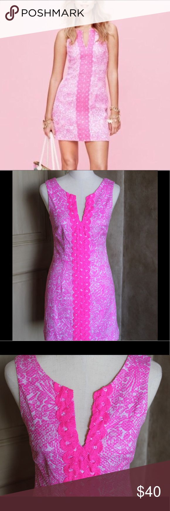 LILLY PULITZER FOR TARGET Pink Shift Dress Cute and fitted, pink Lilly for Target dress. Lowest price size 6 on Poshmark. Great condition!  Last image is stock photo. Lilly Pulitzer for Target Dresses Mini