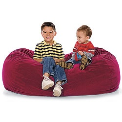 """Jr. Lounger Foam Bean Bag Chair         """"Get all the cushy, kick-back fun of a beanbag chair, minus all those teeny, hazardous beads! What's inside: this sack's stuffed with shredded, furniture-grade foam that actually offers better support. It's a chair, it's a couch, it even doubles as a cushy sleepover mattress. Holds up to three kids under the age of 9. Includes removable, machine washable micro-suede cover. 48""""L x 24""""W x 24""""H. Made in USA."""""""