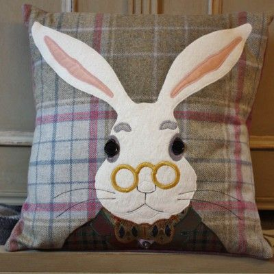 #rabbit  #cushion #tweed #handmade #animal #applique #british #gift #interiors #design #craft