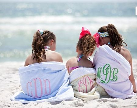 Monogrammed Seersucker Beach Towel - perfect for the beach and pool season!