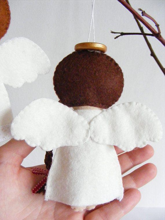 PDF pattern Felt angels. Christmas tree ornaments por iManuFatti