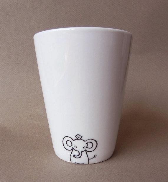 Elephant, hand painted white porcelain mug