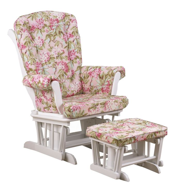 Tea Party Floral Glider with Ottoman
