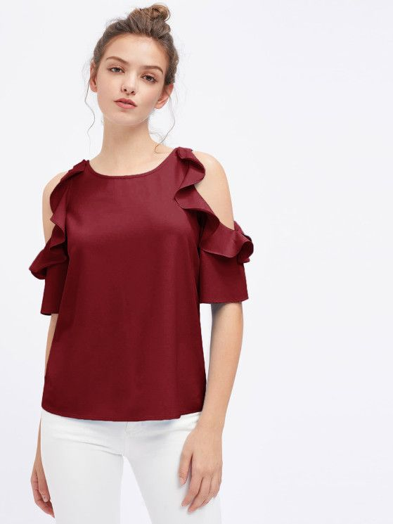 Online shopping for Flounce Open Shoulder Top from a great selection of women's fashion clothing & more at MakeMeChic.COM.
