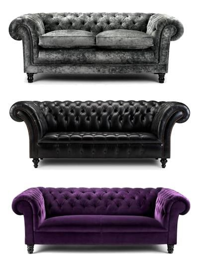 Contemporary Chesterfield Lounges. I'll take the purple one of course!  | pinned by PeachSkinSheets.com