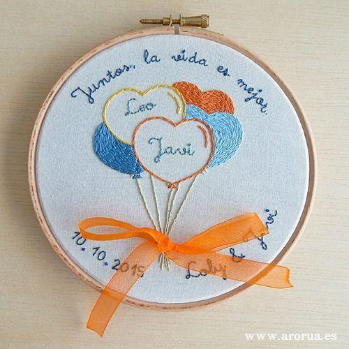 Wedding Art Embroidery Hoop. Bastidor Porta Alianzas. www.arorua.es