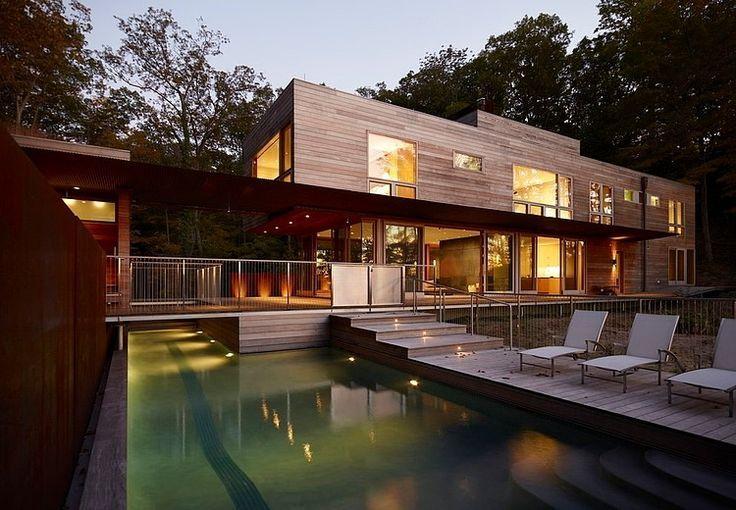 Casa de madera en el lago Michigan. #Arquitectura #Diseño