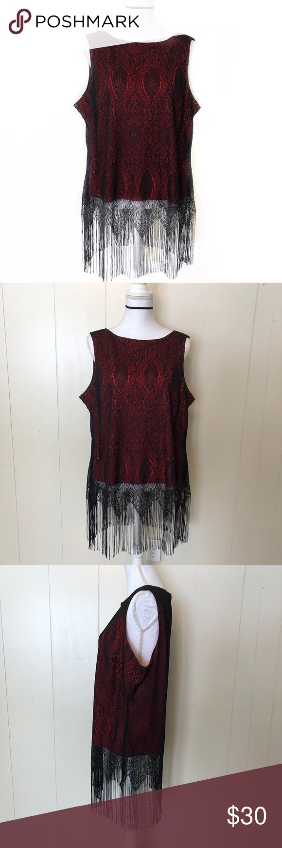 TORRID Red & Black Fringe Tank This gorgeous TORRID Red & Black Fringe Tank will break hearts and is perfect for a night in the town!   EXCELLENT CONDITION NO DEFECTS PLEASE ASK FOR MEASUREMENTS BEFORE PURCHASING torrid Tops Tank Tops