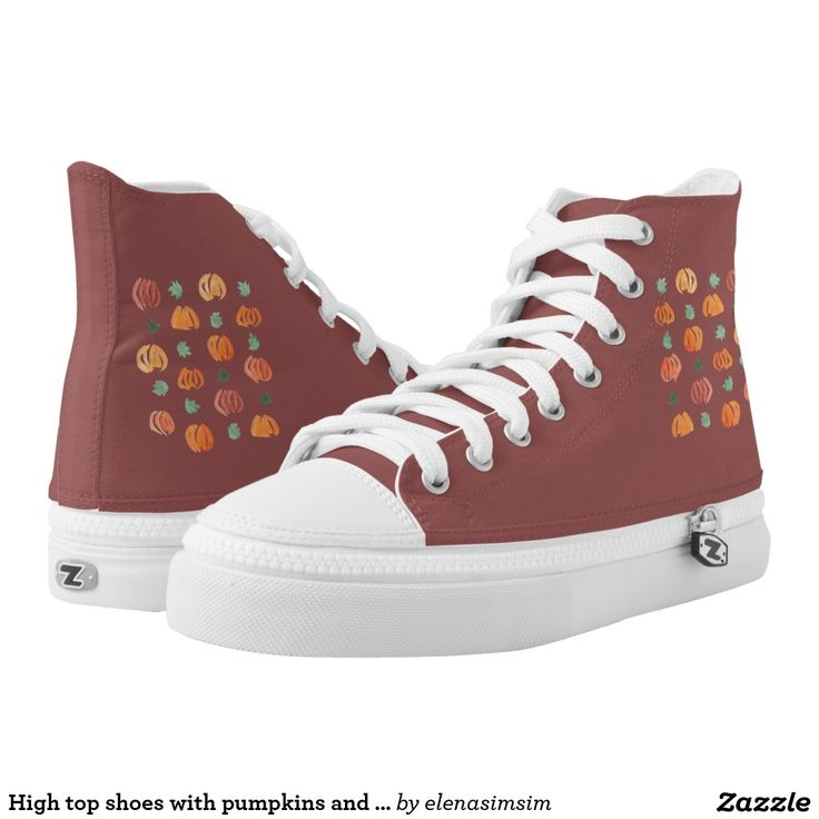 High top shoes with pumpkins and leaves