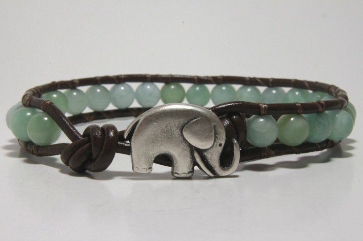 Light Blue Beaded Wrap Bracelet, Leather Wrap Bracelet. Good Luck Elephant.: Leather Wrap Bracelets, Bracelets Leather, Beaded Wrap Bracelets, Beads Wraps Bracelets, Leather Wraps Bracelets