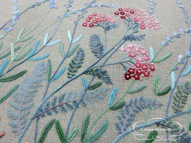 Вышивка гладью и декоративными швами по книге Sadako Totsuka - Herb embroidery on linen - 1. Изумительной красоты травяные мотивы в вышивке.