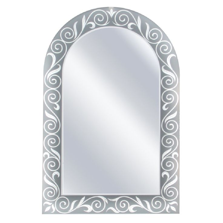 Head West Spring Arch Mirror, 23 by 35-Inch. Etched mirror. Neutral etching adds versatility to all room. Elegant scroll patter etching. Arched shape mirror. Frameless mirror.