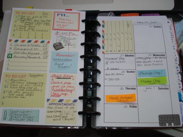 ADD brain dump notebook | creative operations blogspot (This person's description fits me to a T...looks cluttered but since my brain is cluttered a hodgehodge page might work better for notes, to-dos and just a place to DUMP it all so then I CAN organize (the post it notes and lists and to-do are all over and all different sizes even when they are corraled in planner)