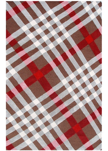 Brit Plaid Brown Gray Red Indoor Outdoor Tufted Rug