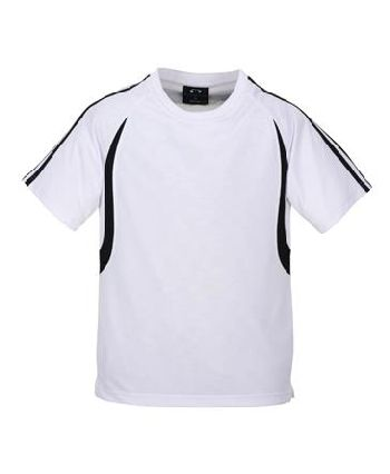whiteblack - MENS BIZCOOL FLASH TEE – T3110  Price includes 1 color, 1 location screen print  2 Color imprint available for an additional charge  • BizCool 100% Breathable Polyester single jersey knit  • Snag resistant fabric  • Contrast twin stripe from shoulder to sleeve cuff  • Contrast curved panel from raglan curve to back of tee  • Side splits  • 185 GSM