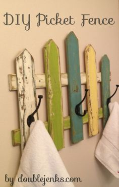 DIY Picket Fence Towel Rack a tutorial by http://doublejenks.com