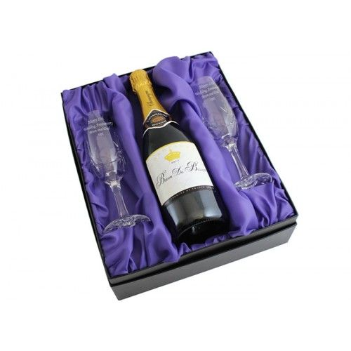 Pair of Engraved Crystal Flutes and Champagne Gift Set  from www.personalisedweddinggifts.co.uk :: ONLY £79.95