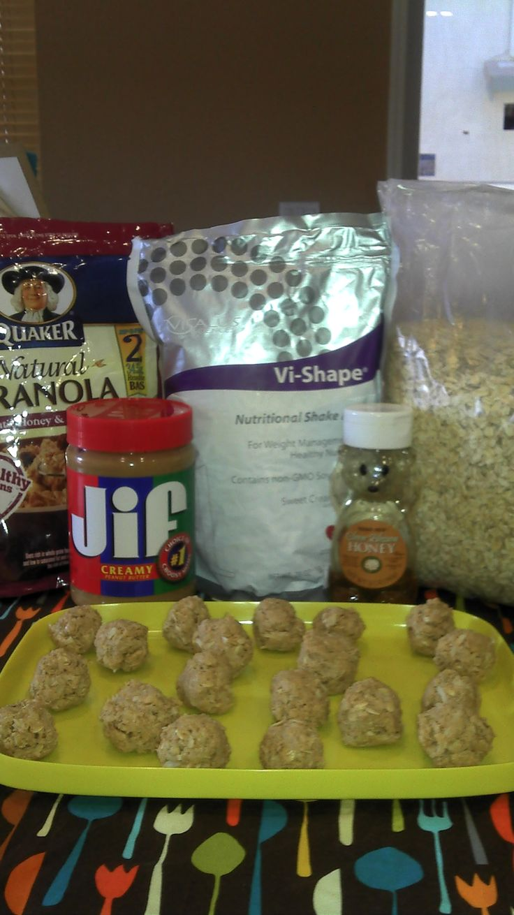Body by ViSalus~ NO COOK  Energy Balls. 2 scoops visalus, 1cup oatmeal, 1/2cup peanut butter, 1/3rd cup  honey, 1cup coconut,  I also add  (1/2cup flaxseed optional) keep in fridge. Can add granola too.