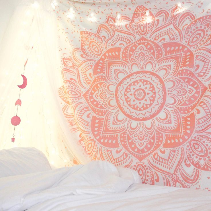 Lady Scorpio | @Ladyscorpio101 ☽☽  ladyscorpio101.com ☆ Perfect Bedroom Decor for the Hippie at heart ♡ These Mandala Tapestry decorations are perfect for Christmas and the Holidays for your home | Blush Rose Pink & White with Canopy & Moon Phase Wall Hanging
