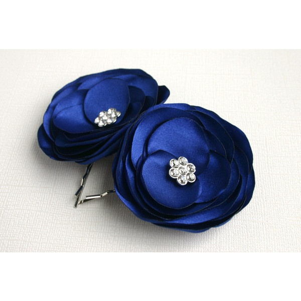 Blue Flower Hair Clips For Wedding - Navy Blue Wedding Flower Hair... ($14) ❤ liked on Polyvore