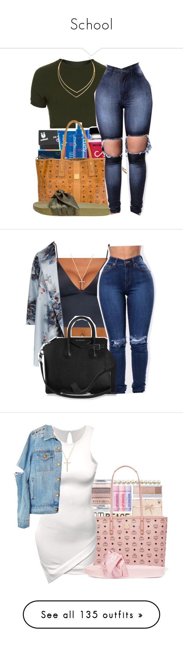 """""""School"""" by ashariah-singleto ❤ liked on Polyvore featuring Topshop, MCM, Puma, Lana, T By Alexander Wang, Marina Rinaldi, Givenchy, Yves Saint Laurent, Nephora and plus size clothing"""