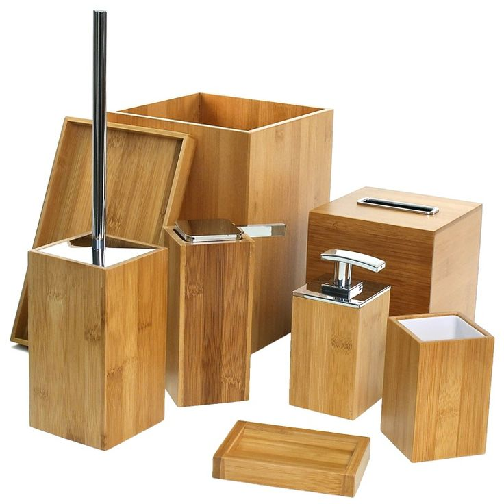 Bathroom Accessory Set, Gedy PO8001-35, Wooden 8 Piece Bamboo Bathroom Accessory Set, PO8001-35