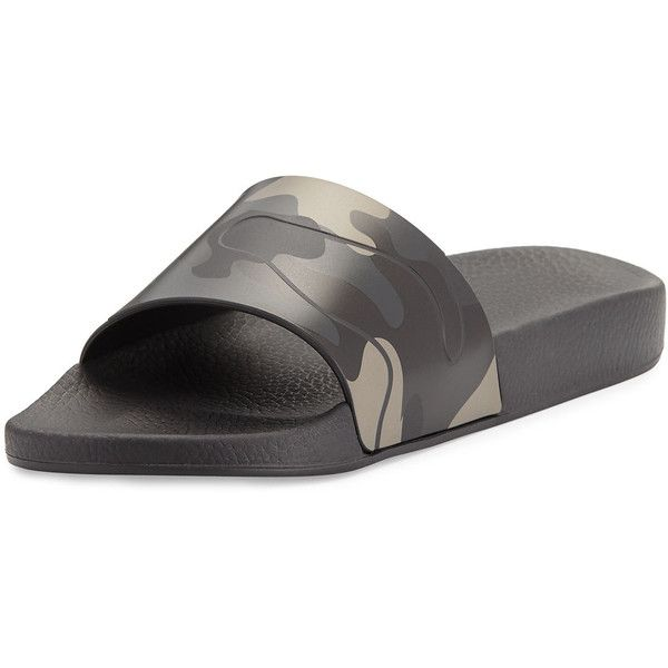 Valentino Men's Camo Rubber Slide Sandal ($295) ❤ liked on Polyvore featuring men's fashion, men's shoes, men's sandals, black, valentino mens shoes, mens rubber shoes, mens black slip on shoes, mens wide width sandals and mens black shoes