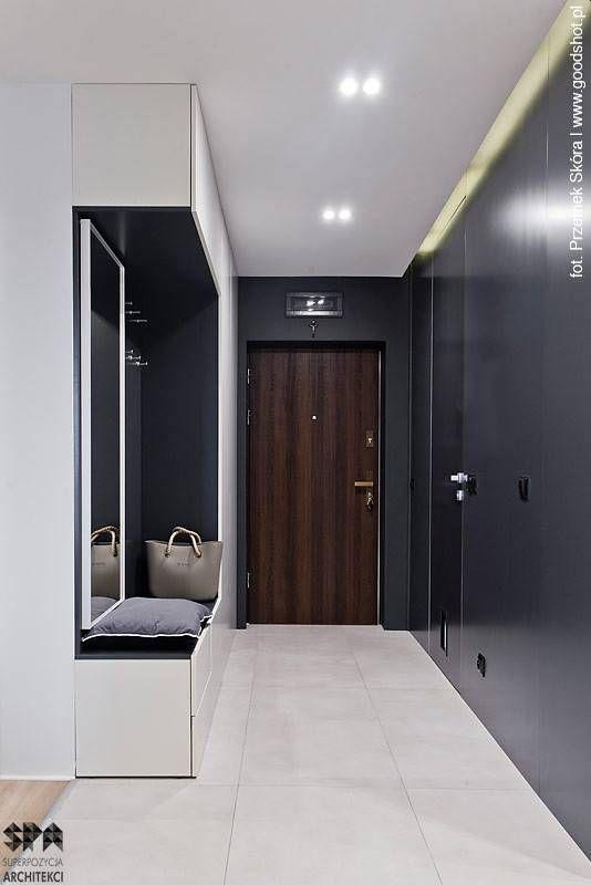 Mieszkanie w Katowicach : Nowoczesny korytarz, przedpokój i schody od superpozycja architekci