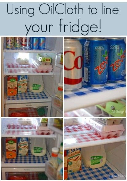 Use oilcloth to line you refrigerator (by @Robin AllThingsHeartandHome)