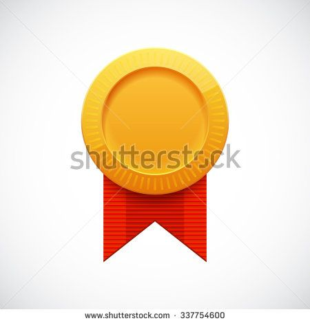 Golden Blank Medal Award with Ribbon for Games. Achievement Icon. Vector illustration.