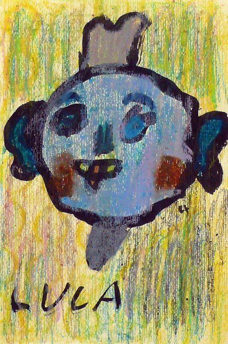 La faccia da un cerchio (china e pastelli a olio)