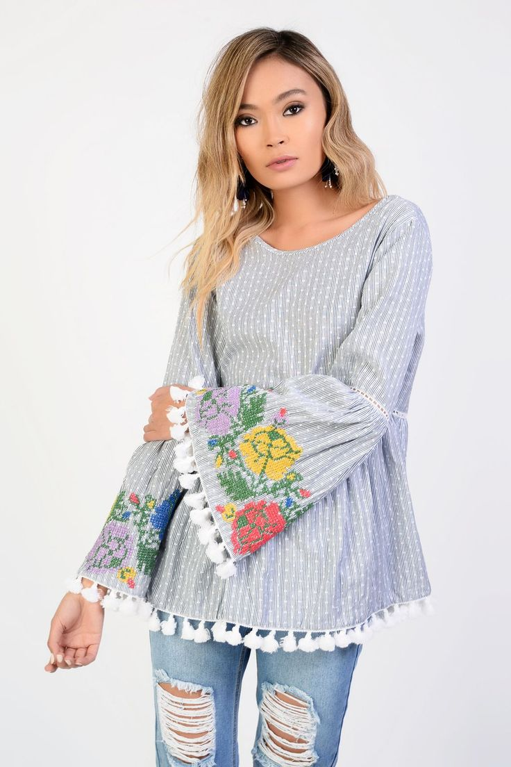 L2017 http://www.topshop.com/en/tsuk/product/clothing-427/shirts-blouses-4650801/embroidered-bell-sleeve-blouse-by-glamorous-6776100?bi=240