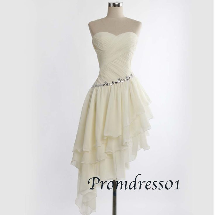 2015 cute sweetheart strapless light champange beaded high low chiffon prom dress, evening dress, ball gown #promdress #wedding