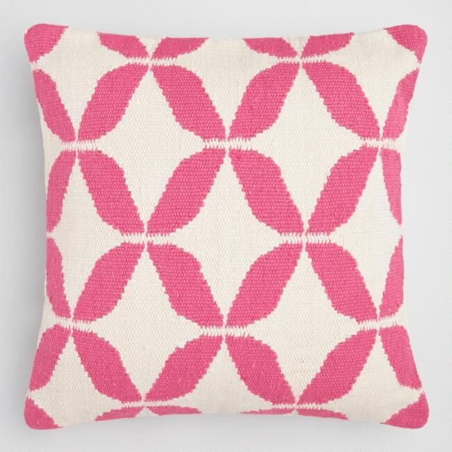 Suitable For Indoor Or Outdoor Use Our Exclusive Woven Throw Pillow Features A Vibrant Pink Peta Throw Pillows Outdoor Throw Pillows Embroidered Throw Pillows