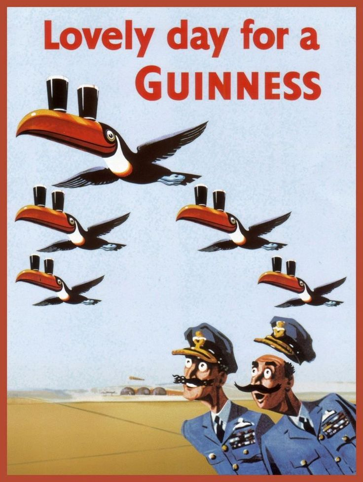 Guinness Toucan Flock Flying (B) Vintage Poster Art Print Pilots Beer Animals in | eBay