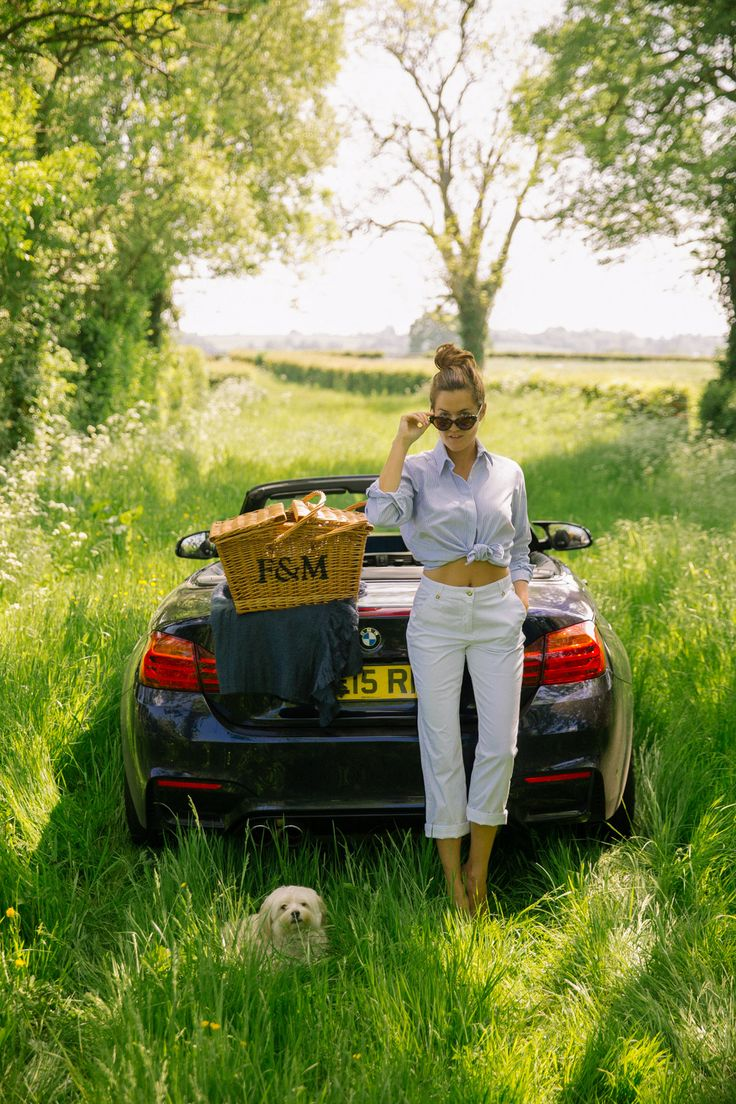 everything about this photo: fortnum & mason basket, cute dogie, convertible bimmer, and england