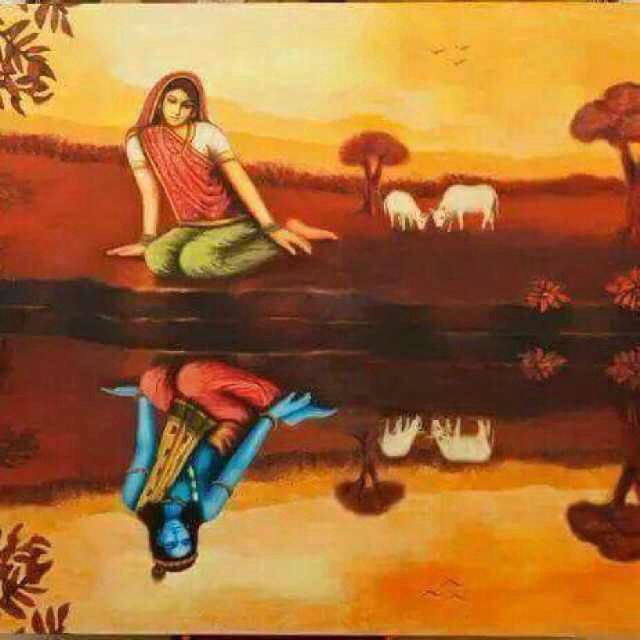 I LOVE THIS IMAGE of Radha reflecting Krishna. Or is ...