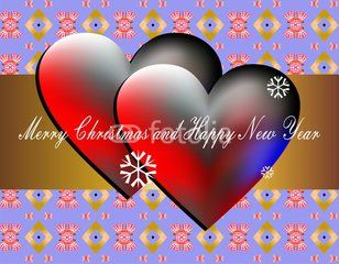 Two 3d hearts and Cristmas wishes for lovers