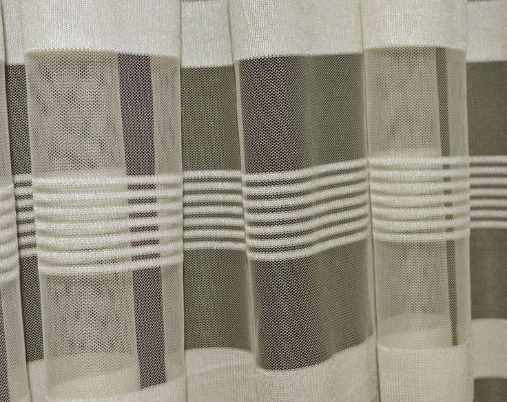 Q103 Beige with Stripe Pattern Soft Mesh/Net Fabric Curtain Material by Yard #Unbranded